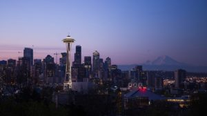 The Seattle skyline at dusk