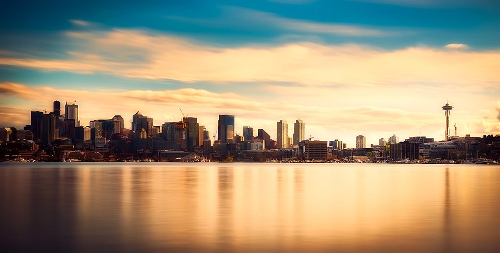 The Seattle skyline at sunset